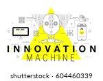 trendy yellow innovation... | Shutterstock .eps vector #604460339