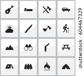set of 16 travel icons....