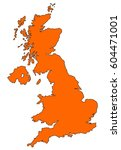 map of uk filled with orange... | Shutterstock . vector #604471001
