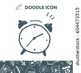 doodle alarm clock | Shutterstock .eps vector #604473515