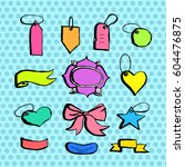 hand drawn contour style labels ... | Shutterstock .eps vector #604476875