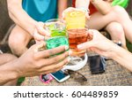 group of friends hands drinking ... | Shutterstock . vector #604489859