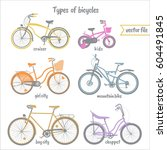 Bicycles Types  Vector Colorfu...