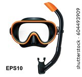 dive mask and snorkel for... | Shutterstock .eps vector #604493909
