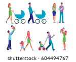 illustration set married couple ... | Shutterstock . vector #604494767