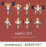 athletic young man with barbell ... | Shutterstock . vector #604497197