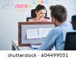 office flirt   attractive woman ... | Shutterstock . vector #604499051