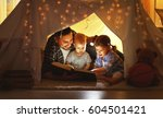 happy family father and... | Shutterstock . vector #604501421