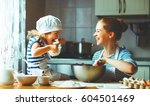 happy family in the kitchen.... | Shutterstock . vector #604501469