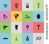 set of 16  barber icons....
