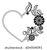 heart shaped black and white... | Shutterstock .eps vector #604504091