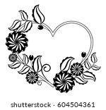 heart shaped black and white... | Shutterstock .eps vector #604504361