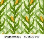 corn field seamless pattern | Shutterstock .eps vector #604508441