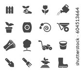 vector black gardening icons...
