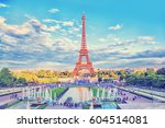 eiffel tower and fountain at...   Shutterstock . vector #604514081
