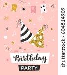 birthday invitation template... | Shutterstock .eps vector #604514909