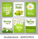 spring card set with spring... | Shutterstock .eps vector #604514921