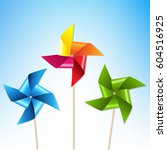 colorful pinwheels with blue... | Shutterstock .eps vector #604516925