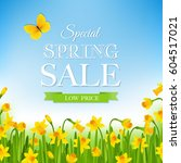 spring sale poster with... | Shutterstock .eps vector #604517021