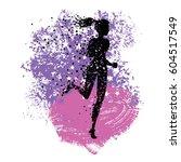 running woman. sport fitness... | Shutterstock .eps vector #604517549