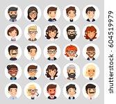 set of 25 flat business round... | Shutterstock .eps vector #604519979