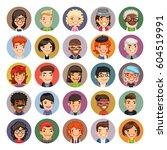 set of 25 flat cartoon round... | Shutterstock .eps vector #604519991