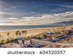 view of santa monica beach and... | Shutterstock . vector #604520357