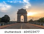 india gate delhi at sunrise... | Shutterstock . vector #604523477