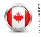 canada icon silver glossy badge ... | Shutterstock .eps vector #604525121