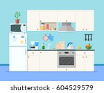 kitchen interior with furniture.... | Shutterstock .eps vector #604529579