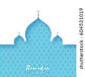 blue mosque. origami ramadan... | Shutterstock .eps vector #604531019