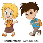 kid waking to school.back to... | Shutterstock .eps vector #604531421