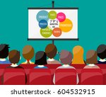 projector screen with financial ... | Shutterstock .eps vector #604532915