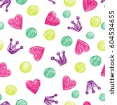simple pattern with hearts and... | Shutterstock .eps vector #604534655