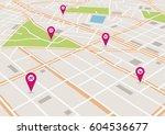 vector flat abstract city map... | Shutterstock .eps vector #604536677