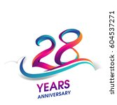 twenty eight years anniversary... | Shutterstock .eps vector #604537271
