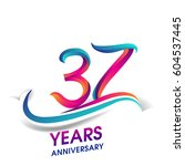 thirty seven years anniversary... | Shutterstock .eps vector #604537445