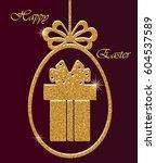 happy easter. golden glitter.... | Shutterstock .eps vector #604537589
