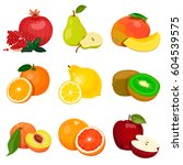 set of fruits isolated on a... | Shutterstock .eps vector #604539575