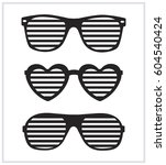set of sunglasses background... | Shutterstock .eps vector #604540424