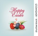 bright easter card. template... | Shutterstock .eps vector #604544315