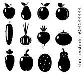 set of black icons of... | Shutterstock .eps vector #604544444