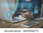 data security system shield...   Shutterstock . vector #604546571