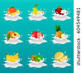 yogurt with splashes and fruits ... | Shutterstock .eps vector #604549481
