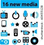 16 new media signs. vector | Shutterstock .eps vector #60455128