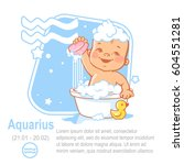 kids zodiac. cute little baby... | Shutterstock .eps vector #604551281