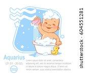 kids zodiac. cute little baby... | Shutterstock .eps vector #604551281