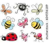 cute cartoon insects isolated... | Shutterstock .eps vector #604556189