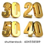 50 40 30 20 golden 3d render... | Shutterstock . vector #604558589