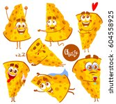 set of cheese character.... | Shutterstock .eps vector #604558925